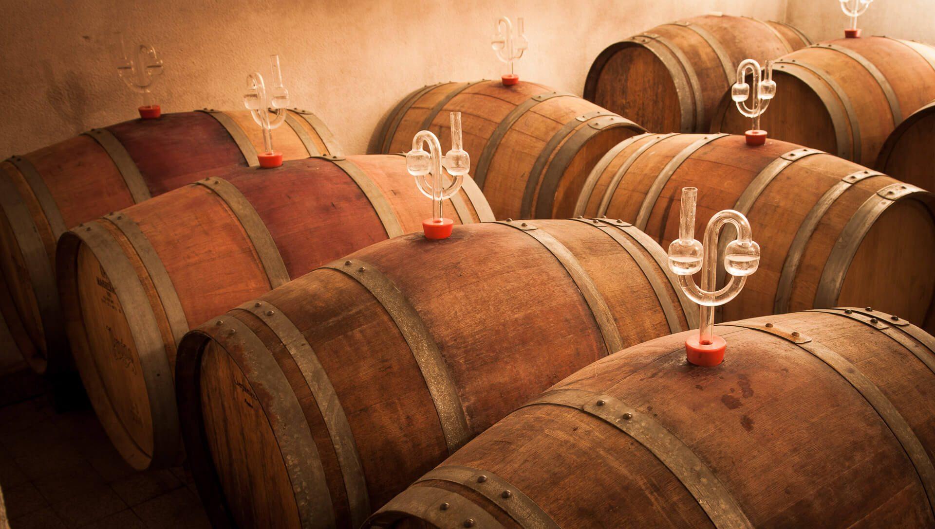 Rotwein Fässer zum Ausbau des Weins mit Barrique